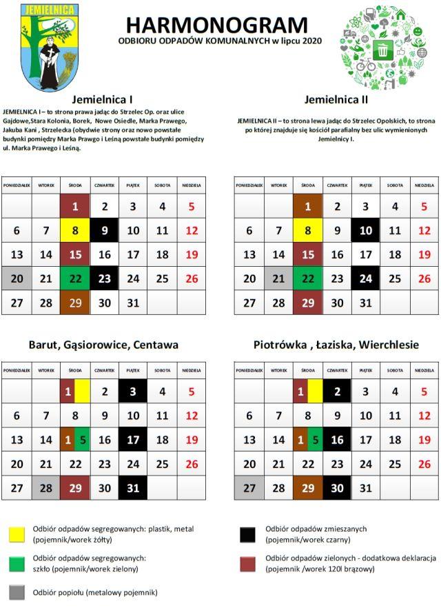 Harmonogram zbiórki odpadów z terenu Gminy Jemielnica od 1 lipca do 31 lipca 2020  roku